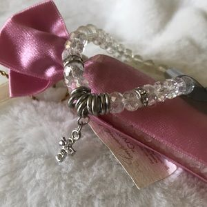 Crystal silver rhinestone cross stretch bracelet